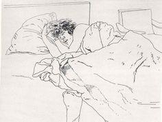 figure drawing (contour), David Hockney