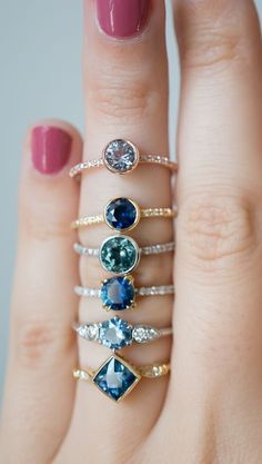 How bout non engagement rings?Montana Sapphire Engagement Rings, one of a kind creations with an ethical sapphire center stone. Kind & Co Cute Jewelry, Jewelry Box, Jewelry Rings, Jewelry Accessories, Jewlery, Jewellery Holder, Jewellery Supplies, Jewellery Shops, Body Jewelry
