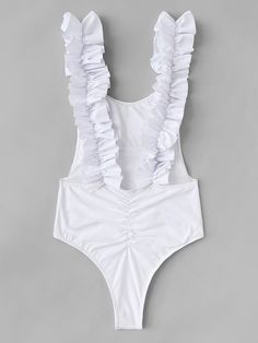 Frill Strap Drop Armhole Ruched One Piece Swimsuit Swimwear Model, Swimwear Fashion, Cute Swimsuits, Cute Bikinis, Bikini Inspiration, Pullover Shirt, Cute Lingerie, Cute Bathing Suits, Bodysuit Fashion