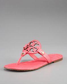 Tory Burch Miller Croc-Embossed Thong Sandal - Neiman Marcus
