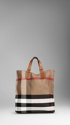 Large Check Canvas Tote Bag | Burberry