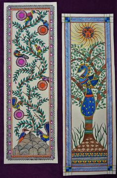 An beautiful piece of madhubani art entirely handmade.made on handmade paper and acrylic colors which looks so natural and vibrant. Gond Painting, Kerala Mural Painting, Wall Painting Decor, Easy Canvas Painting, Madhubani Paintings Peacock, Kalamkari Painting, Madhubani Art, Indian Paintings, Colorful Drawings