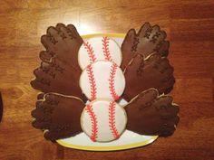Baseball mitts and baseball sugar cookies