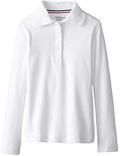 French Toast Girls' Long Sleeve Interlock Polo with Picot Collar - tag simple Hipster Sweater, Sweater Shirt, Polo Tees, Discount Makeup, Coupon Design, T Shirt And Jeans, Navy Sweaters, Matching Shirts, White Hoodie