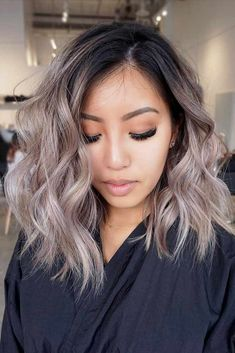 18 medium long hairstyles for thick hair – hair style for women Ombre Hair Color, Hair Color Balayage, Cool Hair Color, Ash Blonde Balayage Short, Ash Brown Balayage, Black To Blonde Hair, Hair Color Asian, Hair Highlights, Asian Ombre Hair
