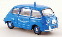 Fiat 600 D Multipla Polizia Municipale Roma police 1964 Brumm. Fiat 600 D Multipla Polizia Municipale Roma police 1964 Police miniature 1/43