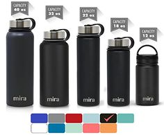 ac80e7d531 MIRA 12 Oz Stainless Steel Vacuum Insulated Wide Mouth Water Bottle with 2  Caps | Thermos
