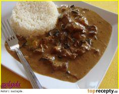 Krůtí na houbách ve smetanové omáčce Thai Red Curry, Rice, Pudding, Beef, Ethnic Recipes, Desserts, Meat, Tailgate Desserts, Deserts