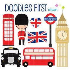 Items similar to London Collection Digital Clip Art for Scrapbooking Card Making Cupcake Toppers Paper Crafts on Etsy London Flag, London Bus, Clipart, London Party, London Cake, British Party, London Icons, How To Make Cupcakes, Embroidery Designs