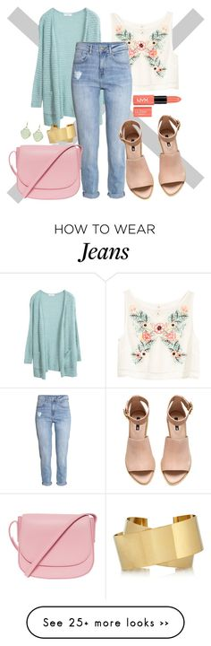 """Rock It! High-Waisted Skinny Jeans"" by ebonygrayer on Polyvore featuring H&M, Mansur Gavriel, Isabel Marant, Elizabeth Showers and highwaistedjeans"