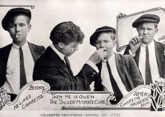 """Silver nitrate cure - ca. 1920. Photograph of an advertisement printed in the """"Houston Chronicle"""" that depicts a """"before and after"""" treatment for cigarette smoking called the Silver Nitrate Cure. The advertisement uses pictures of an unidentified young man to show how this cure changes the desire for cigarettes. George Fuermann """"Texas and Houston"""" Collection, 1836-2001. Special Collections, University of Houston Libraries (Public Domain)."""