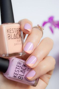 Bright colors doesn't have to mean crazy nail art. This tutorial uses two seasonal shades, peach and lavender, to create a gorgeous yet delicate look. See more at So Nailicious.