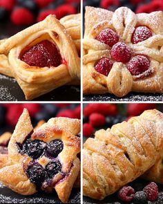 Are Four Ways To Make Incredibly Beautiful Desserts With Puff Pastry Not a recipe, but four ways to make pretty pastries using frozen puff pastry as a base.Not a recipe, but four ways to make pretty pastries using frozen puff pastry as a base. Strawberry Puff Pastry, Frozen Puff Pastry, Dessert Haloween, Just Desserts, Dessert Recipes, Brunch Recipes, Cookie Recipes, Sunday Recipes, Baking Desserts