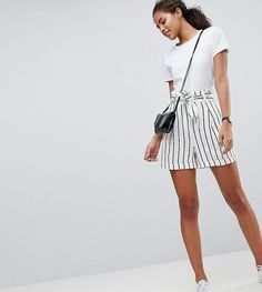 Asos Tall Asos Design Tall Tailored Linen Casual Short With Tie Waist In Stripe