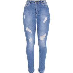 260c5fac9b82b Sopheia Mid Wash Distressed Skinny Jean ( 32) ❤ liked on Polyvore featuring  jeans
