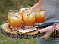 Autumn Crush cocktails on a rustic serving platter
