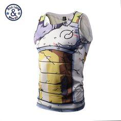Mens Dragon Ball Z Vegeta Armor Tank Tops Culturismo Gimnasio Chaleco Tank Top Hipster 3D Anime DBZ Tanques camisetas t shirt tee