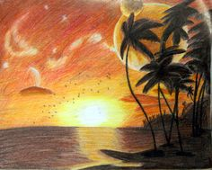 Sunset via colored pencil by Corrbin on deviantart.com