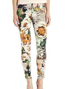 Multi Floral Print Skinny Ankle Pants   Choies