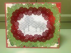 Christmas card made with Martha Stewart Frame Border Punch