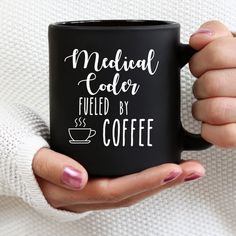 Medical Coder fueled by Coffee , Medical Coder mug , Medical Coder gift, medical coder mugs Medical Coding Training, Medical Billing And Coding, Medical Coder, Special Ed Teacher, Crochet T Shirts, Macbook Stickers, Stress, Processing Time, Mugs