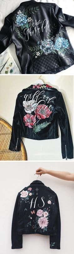 Painted leather jackets | hand painted jacket | illustration on jacket | flower leather jacket