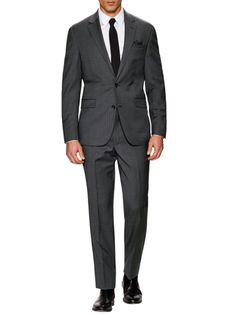 Kenneth Cole Suiting Wool Basket Weave Suit