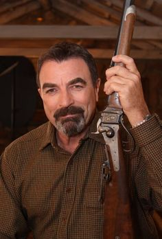 A Shiloh Sharps Number 3 Rifle is today's featured gun. It is one of three manufactured at the Shiloh Sharps factory in Big Timber, Montana for use by actor Tom Selleck in the 1990 film, Quigley Down Under.   Heck with the Gun...look at the MAN!
