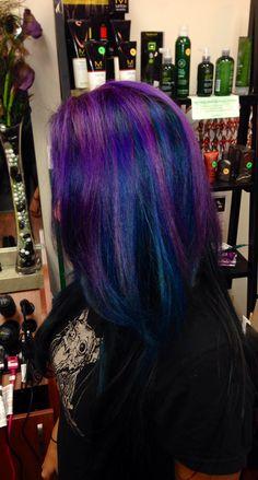 Purple peacock hair :) Www.locksstudio.com