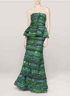 alice + olivia - Printed peplum gown | Blue and Green Evening Dresses