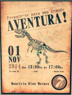 Convite tema Dinossauro  Pode ser desenvolvido em qualquer tema.