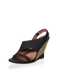 51% OFF 7 For All Mankind Women\'s Gazelle Wedge Sandal (Black)