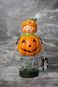 Lori Mitchell Punkin Pie: What a little cutie! Dressed up for Halloween in a Pumpkin costume and carrying a black and white ghost treat or trick bag. Will this be the next Lori Mitchell figurine which you will add to your collection? Fete Halloween, Halloween Ornaments, Holidays Halloween, Vintage Halloween, Halloween Crafts, Happy Halloween, Halloween Decorations, Halloween Ideas, Halloween Stuff