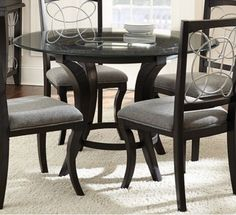 Glass-Top Black Dining Table With 4 Padded Side Chairs Dinette Breakfast Nook G #GreysonLiving #ContemporaryModernUrban