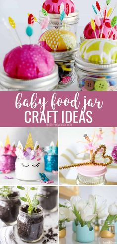 Have a bunch of baby food jars laying around? Try one of these clever baby food jar craft ideas! Repurpose them into something awesome. Baby Food Jar Crafts, Food Crafts, Mason Jar Crafts, Baby Crafts, Decor Crafts, Mason Jars, Baby Jars, Baby Food Jars, Food Baby