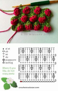How To Easy Crochet Strawberry Stitch Continuing the marathon of free stitch crochet patterns, today I want to show you the most pretty stitch technique. It's called the strawberry stitch and I'm sure that. Crochet Design, Crochet Motifs, Crochet Diagram, Crochet Stitches Patterns, Crochet Chart, Love Crochet, Crochet Flowers, Diy Crochet, Crochet Ideas