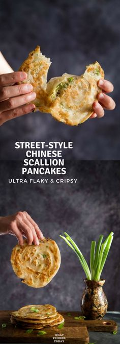 chinese meals Street-style Chinese Scallion Pancakes (Cong You Bing)- Learn how to make easy flaky Chinese scallion pancakes without much fuss. This recipe gives you ultra-flaky and crispy result that you will find irresistible. Chapati, Vegetarian Recipes, Cooking Recipes, Healthy Recipes, Chinese Food Vegetarian, Healthy Chinese, Pancake Recipes, Fast Recipes, Pancakes Weight Watchers