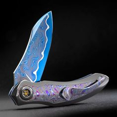 Peter Martin QSB flipper folder with Lava Lamp Super knife Art knives beautiful expensive knives gift for men fashion for men fashion accessory for men accessory Damascus knives Damascus zirconium knives folding knives art super beautiful
