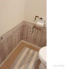 トイレに木目シート貼ってみたよ♪ ((ヾ(。・ω・)ノ☆゚+.  by   100均(キャンドゥ)