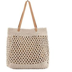 Mary and Marie Beige Cotton Crochet Mykonos Tote