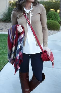 Plaid Blanket Scarf, Dark Denim Leggings, Ruffle Collar Blouse, Tan Cashmere Cardigan, Over the Knee Brown Boots, Zara, J.Crew, Gap, Frye 23