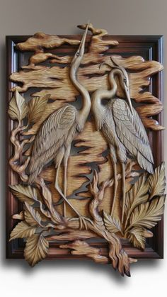 Reiher-Panel Source by . Wood Carving Designs, Wood Carving Patterns, Wood Carving Art, Clay Wall Art, Mural Wall Art, Clay Art Projects, Wood Projects, Intarsia Woodworking, Wooden Art