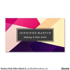 Modern Pink Yellow Black Geometric Pattern Business Card