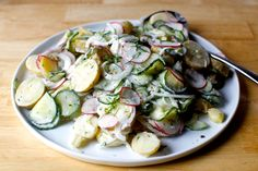 dilled potato and pickled cucumber salad – smitten kitchen I don't like potato salad but this sounds amazing-mb Smitten Kitchen, Pickled Cucumber Salad, American Potato Salad, Grilled Side Dishes, Dill Potatoes, Roasted Potatoes, Grilling Sides, Homemade Pickles, Pickling Cucumbers