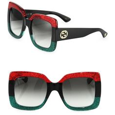 Gucci 55MM Oversized Square Colorblock Sunglasses ($540) ❤ liked on Polyvore featuring accessories, eyewear, sunglasses, red, soft accessorie - sunglasses, gucci glasses, square lens sunglasses, gucci sunglasses, gucci and uv protection glasses