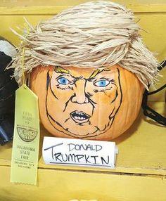 Parody politics this Halloween with a Donald Trump carved pumpkin a.k.a. Donald Trumpkin