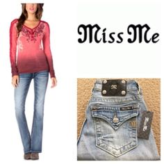 """Miss Me Light Blue Boot Cut Jeans Miss Me Mid Rise Light Blue Wash BootCut Jean.  98% cotton, 2% elastane, machine washable.  Approx 16"""" waist, 9"""" rise, 34"""" inseam.  Zip fly, belt loops, five pockets, flap back pockets, fading, distressed, whiskering, embellished with silver studs. Miss Me Jeans Boot Cut"""