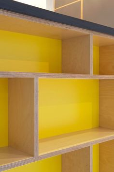 Desk and Storage Piece Inspiration: Love a bit of colour pop inside cabinets.