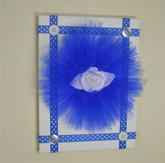 Royal Blue and White Wall Decor - 3D Flower Nursery Canvas - Nursery Wall Decor - Tulle Flower on Canvas - Baby Shower Gift - 3D Wall Art