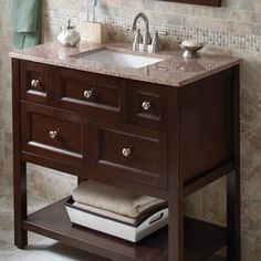 Beautiful vanity for small bathroom courtesy of The Home Depot.